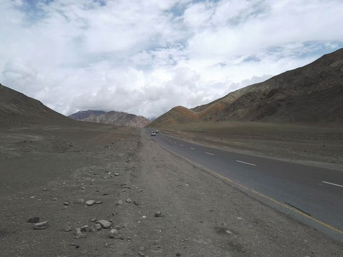 A highway near Magnetic Hill in Ladakh, India