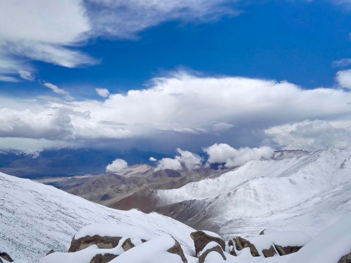 Snow clad mountains in Ladakh, India