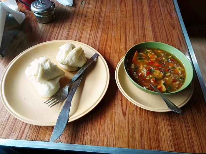 Teemok (fermented bread) with stew
