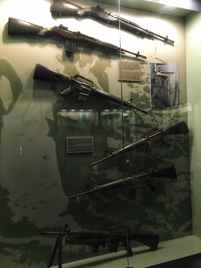 Assault rifles on display at War Remnants Museum