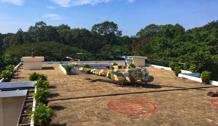 Helicopter on roof of Independence Palace