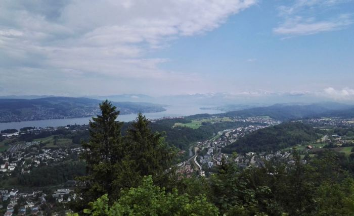 View of Zürich city, lake and Alps from Felsenegg, Switzerland