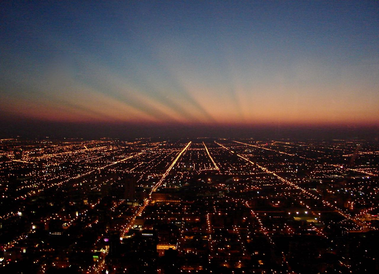 Chicago city lights seen from John Hancock Center. September 2006, Sony Cybershot DSC-S40