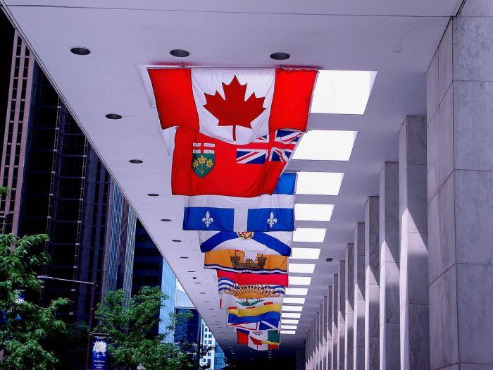 Flags outside an office building in Toronto, Canada. June 2005, Sony Cybershot DSC-S40