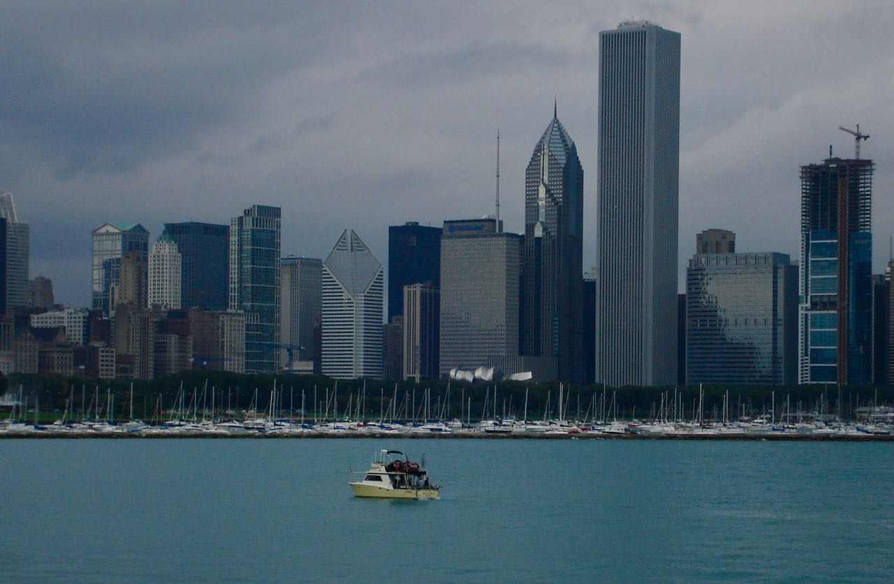 View of Chicago downtown from Adler Planetarium